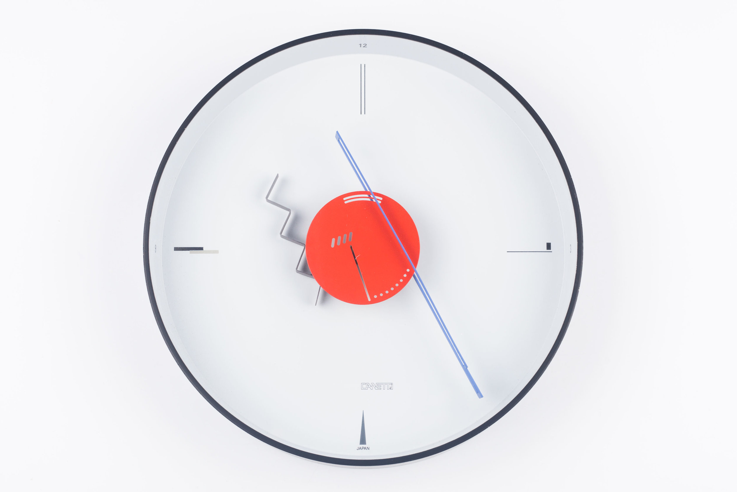 POSTMODERN METAL WALL CLOCK BY CANETTI, WHITE, RED, BLACK, USA, 1980S