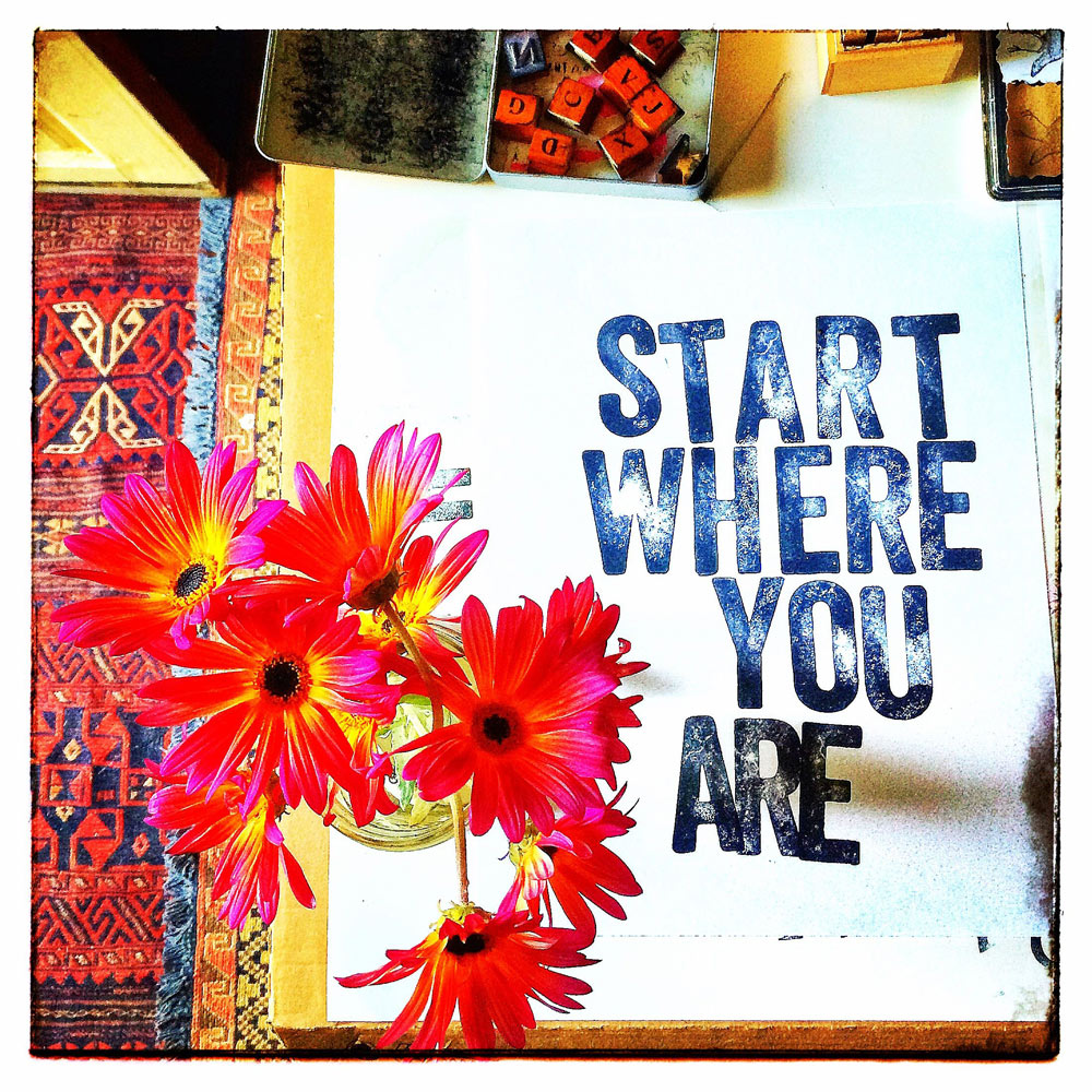 Start Where You Are. Really, Do We Have a Choice? Work on Paper, Rubber-stamp, Ink, On location The Quote Lab