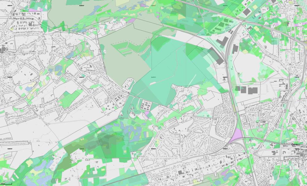 De groene vlakken zijn bossen en natuurgebieden.