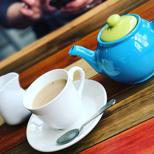 Tea time! Mad Hatter not invited!...or was he?!!! Also, I learned that I can't hold a cup and lift my pinky finger. 😂 #London #TeaTime #TeaTreats #TeaParty