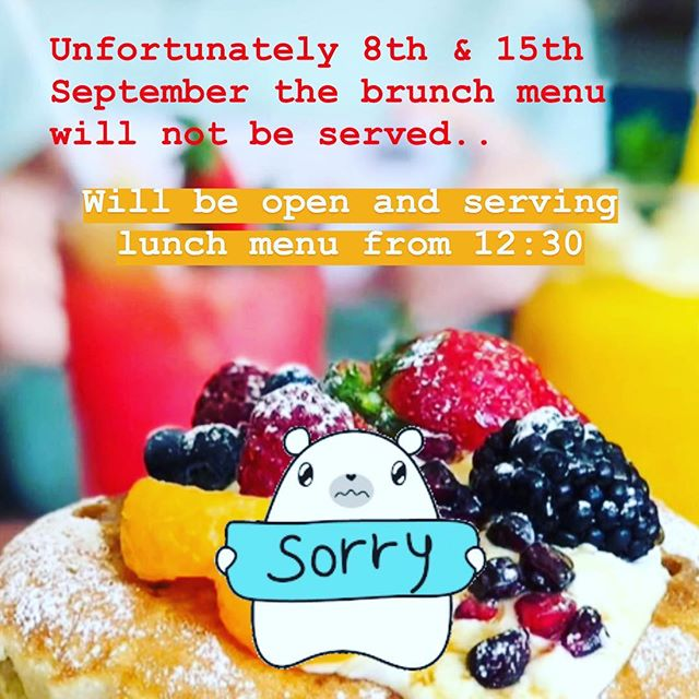 Saturday the 8th & 15th will not be serving the brunch menu, instead will be open from 12:30 serving lunch menu. Sunday the 9th & 16th will be serving brunch of our usual time 10:00-2:30. Sorry for the inconvenience.