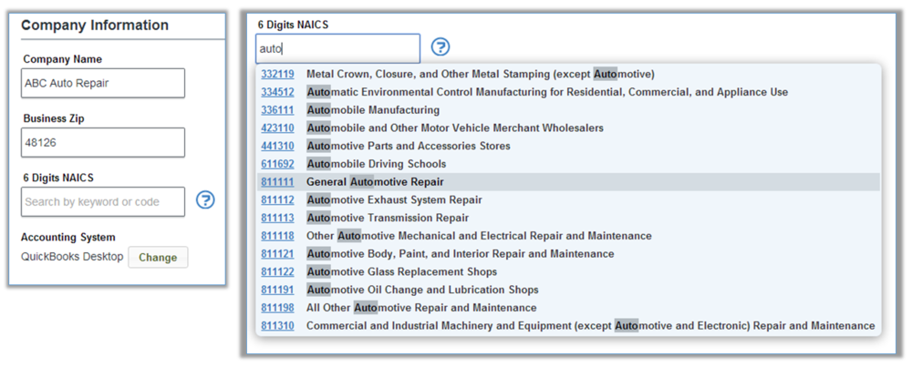 With the new NAICS Search feature, just start typing a keyword in the NAICS field to see suggestions.