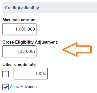 Gross Eligibility Adjustment setting on the parameters page.