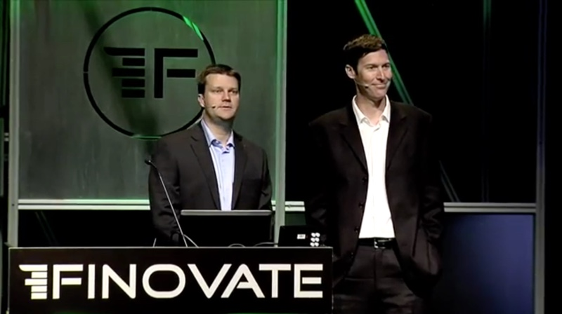 Pictured (left to right): CEO James Walter and VP of Sales Corey Ross demonstrating their platform at FinovateSpring 2013 in San Francisco (as BBC Easy).