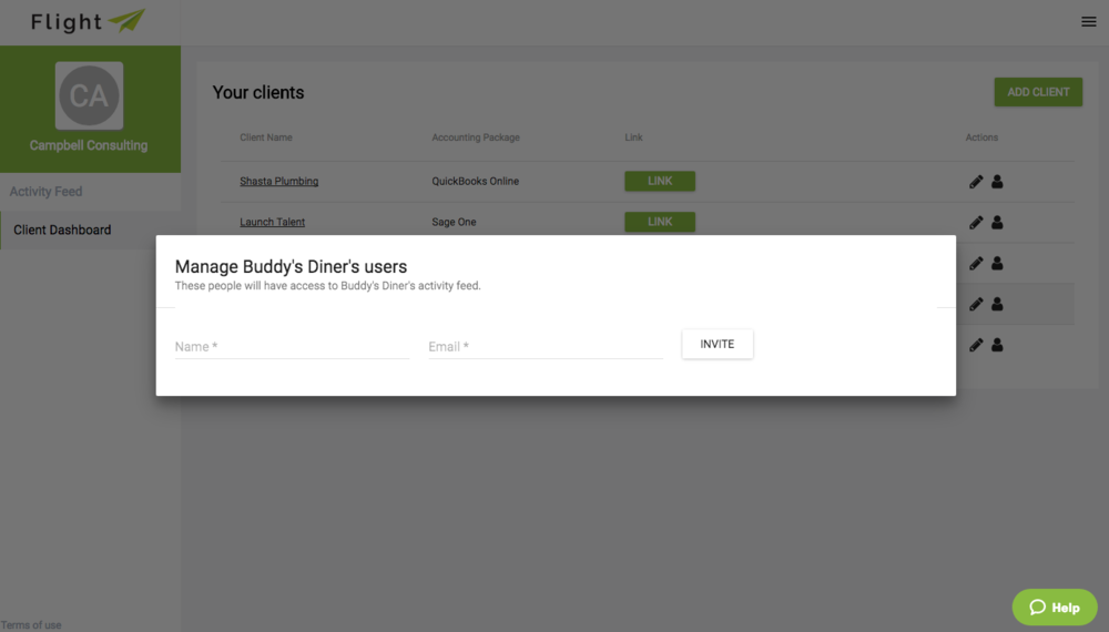 Download screenshot: Manage client's users