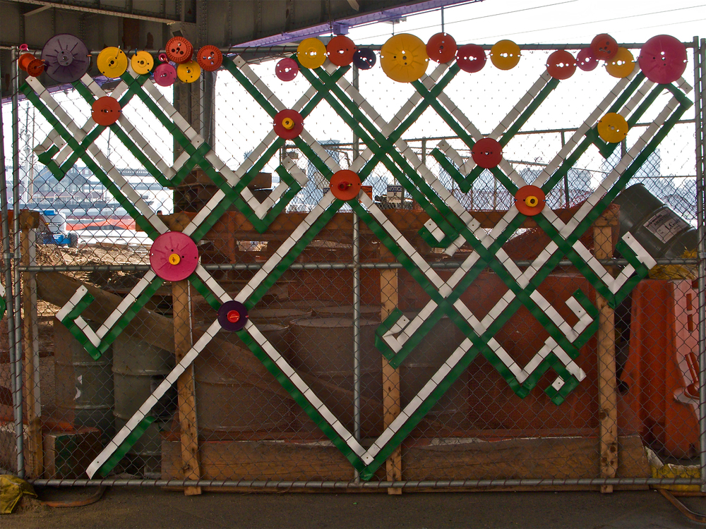 Fence Embroidery with Embellishment - detail