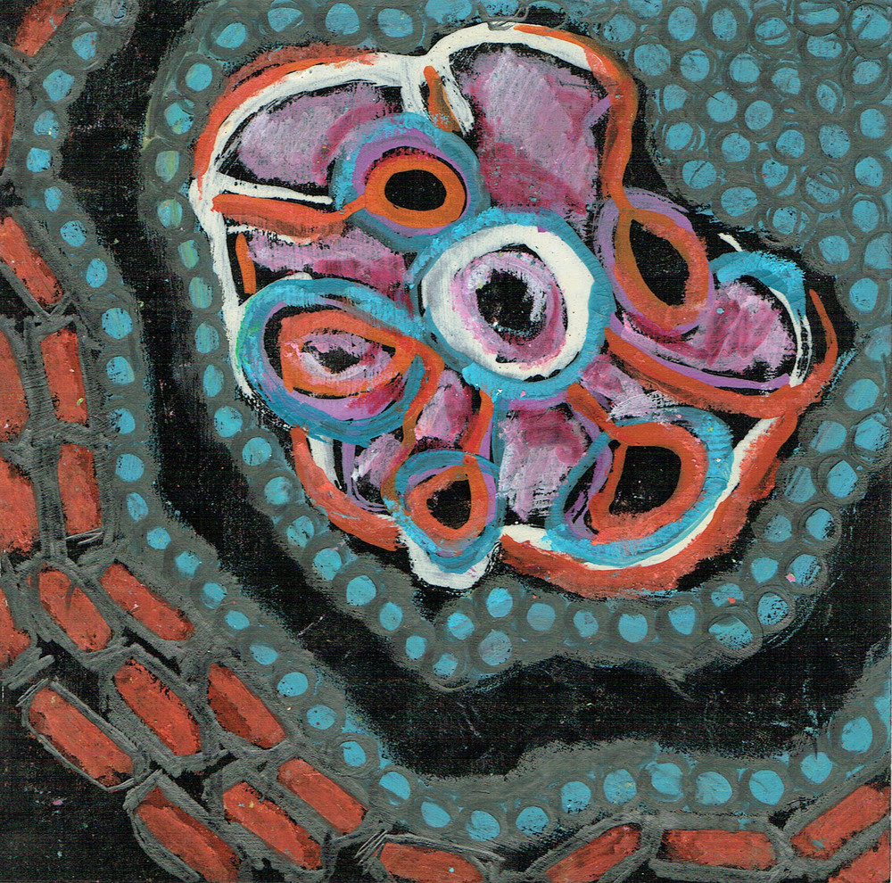 Black Pieces 6,  oil pastel and guache,  6x6 inches, 2013