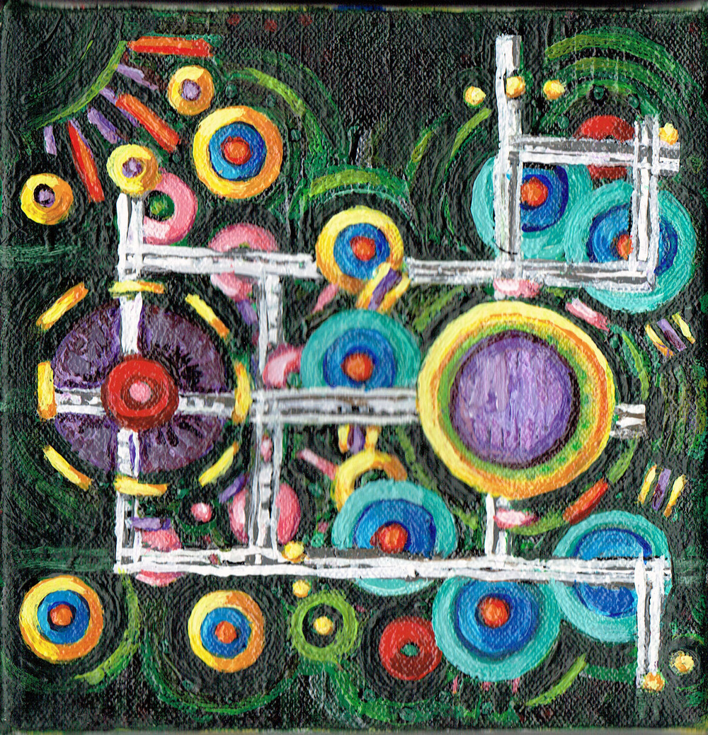 Lattice and Spheres 2, acrylic on canvas, 6x6 inches, 2015