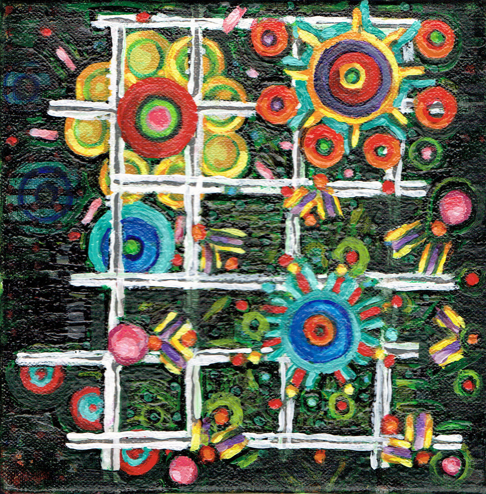 Lattice and Spheres 5, acrylic on canvas, 6x6 inches, 2015