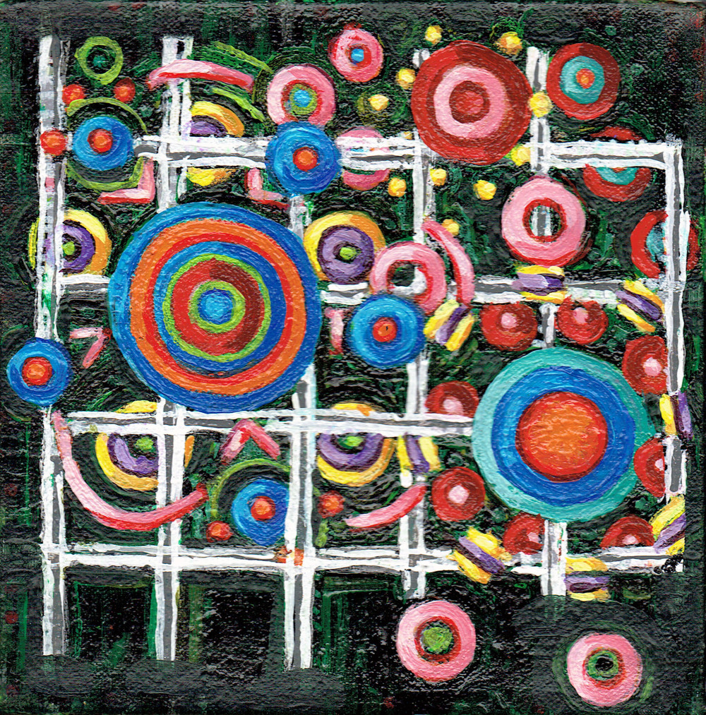 Lattice and Spheres 8, acrylic on canvas, 6x6 inches, 2015