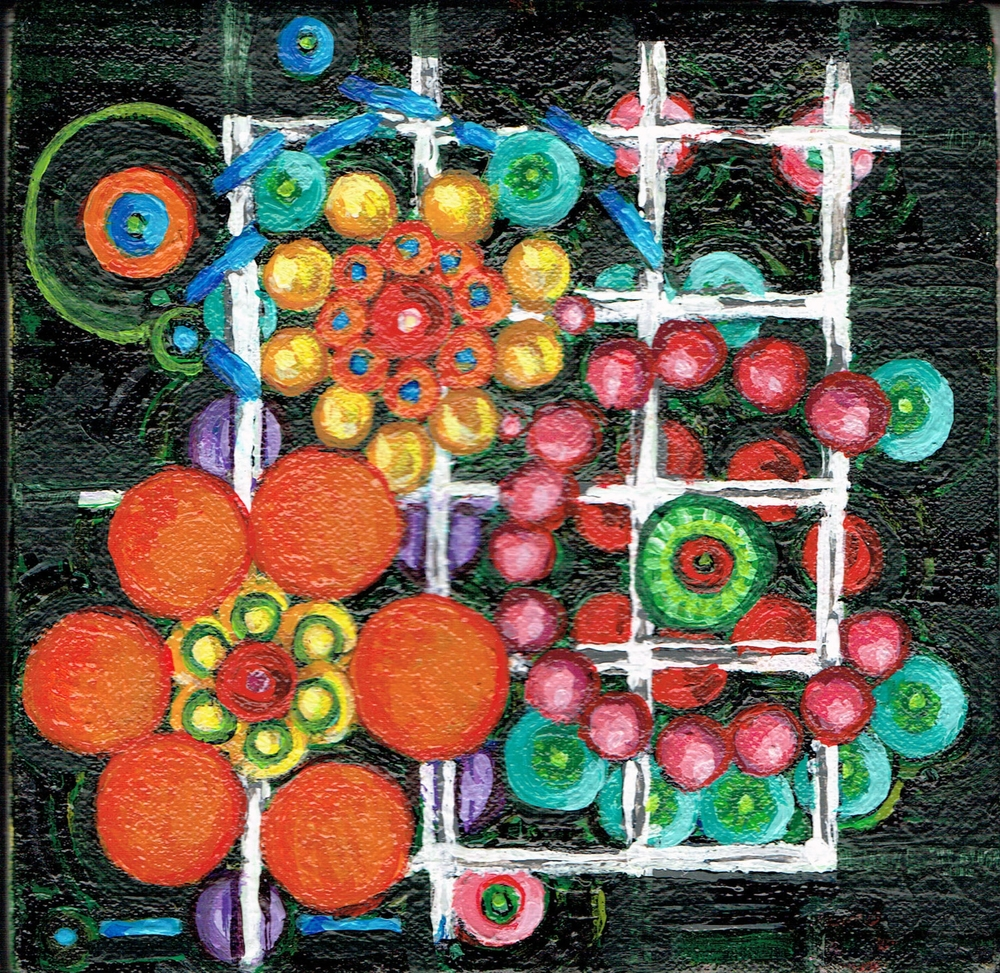 Lattice and Spheres 7, acrylic on canvas, 6x6 inches, 2015