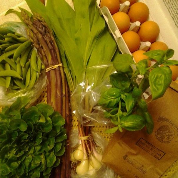 Market this week: eggs, asparagus, lettuce, basil, peas, coffee, ramps. ($30)