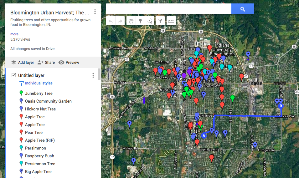 A screenshot of the community-assembled map of fruit foraging opportunities in Bloomington