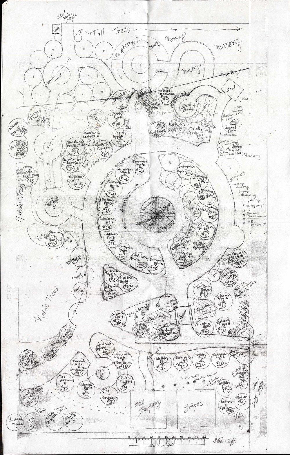 This map, a facsimile on which more edits have been written in pen, adds signifiant depth to Jack's layout. This is the most complex map in BCO's archive, with an aspirational take on plantings that fill the site fully.