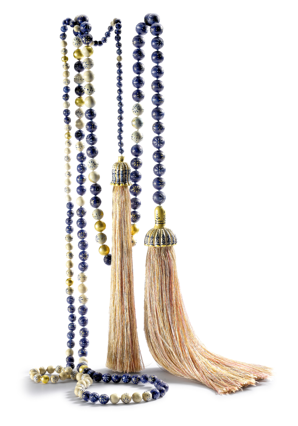 Afghan Temple Lariat, created from carved maple, handpainted in Kabul and gilded in London
