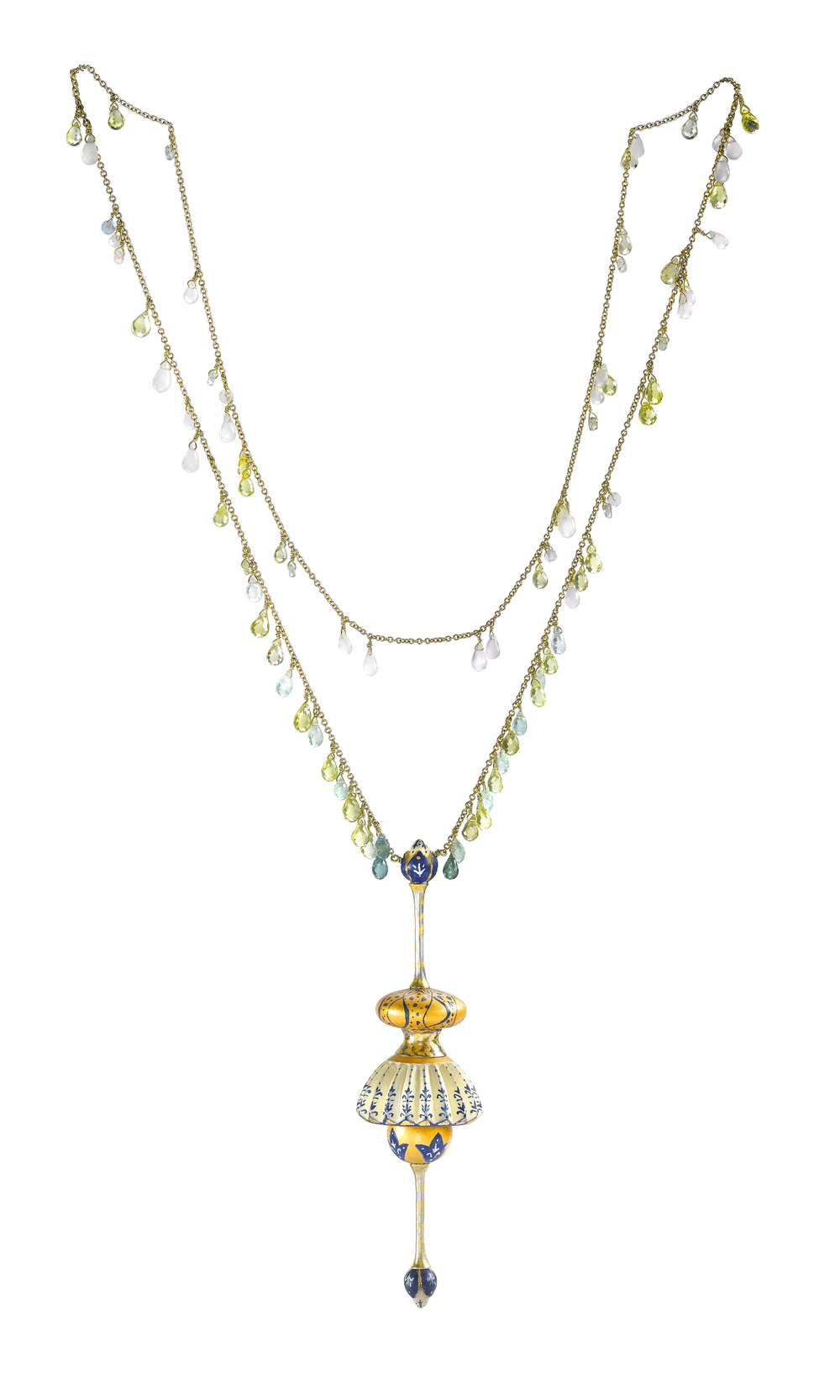 Afghan Temple Shinkara Sautoir; 18ct yellow gold chain, strung with white sapphires, chalcedony, lemon quartz and blue tourmaline, supports a pendant of carved maple and fine silver, painted in Kabul, and gilded in London.