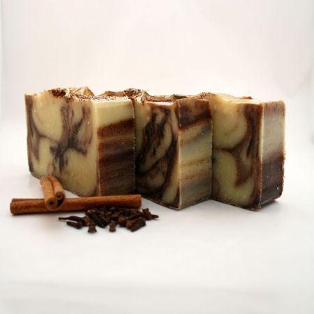 Organic Cinnamon Soap: 3 handmade soap bars with a cinnamon swirl
