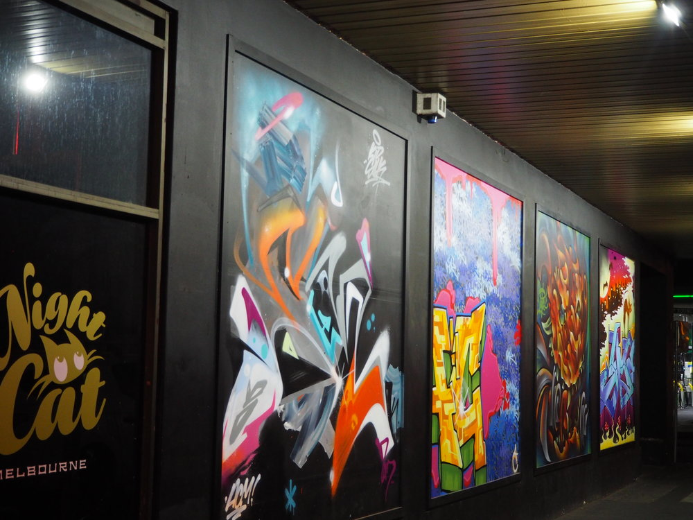 July 2017 saw a collaboration between local artists producing one work each. from left to right Silk, Nack, Putos, Jme