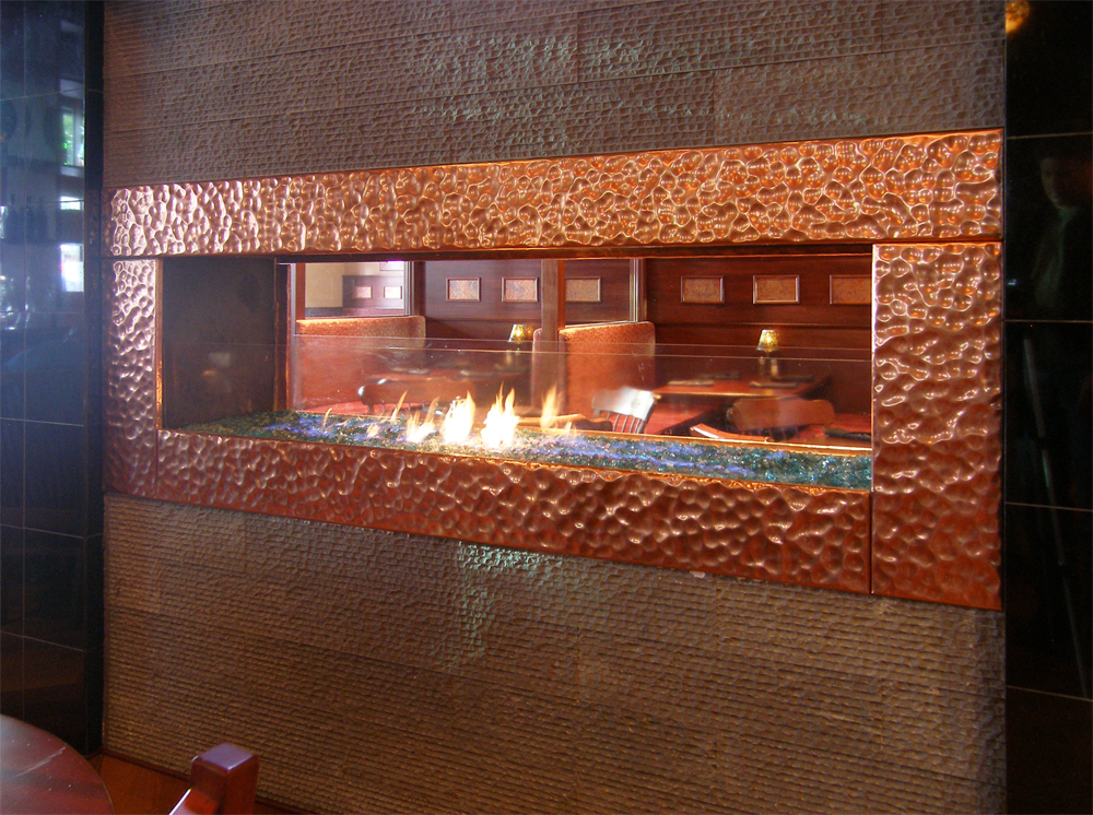 COPPER DIMPLE FIREPLACE FRAME - AMERICAN TAP ROOM