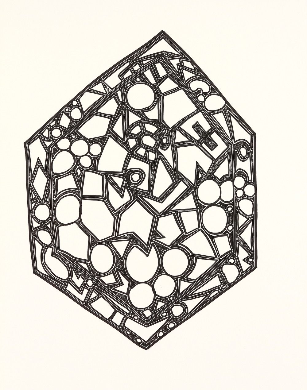 "Hexagon    marker on paper   24"" x 19""   2015"
