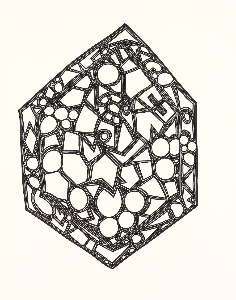 "Hexagon  marker on paper  24"" x 19""  2015"