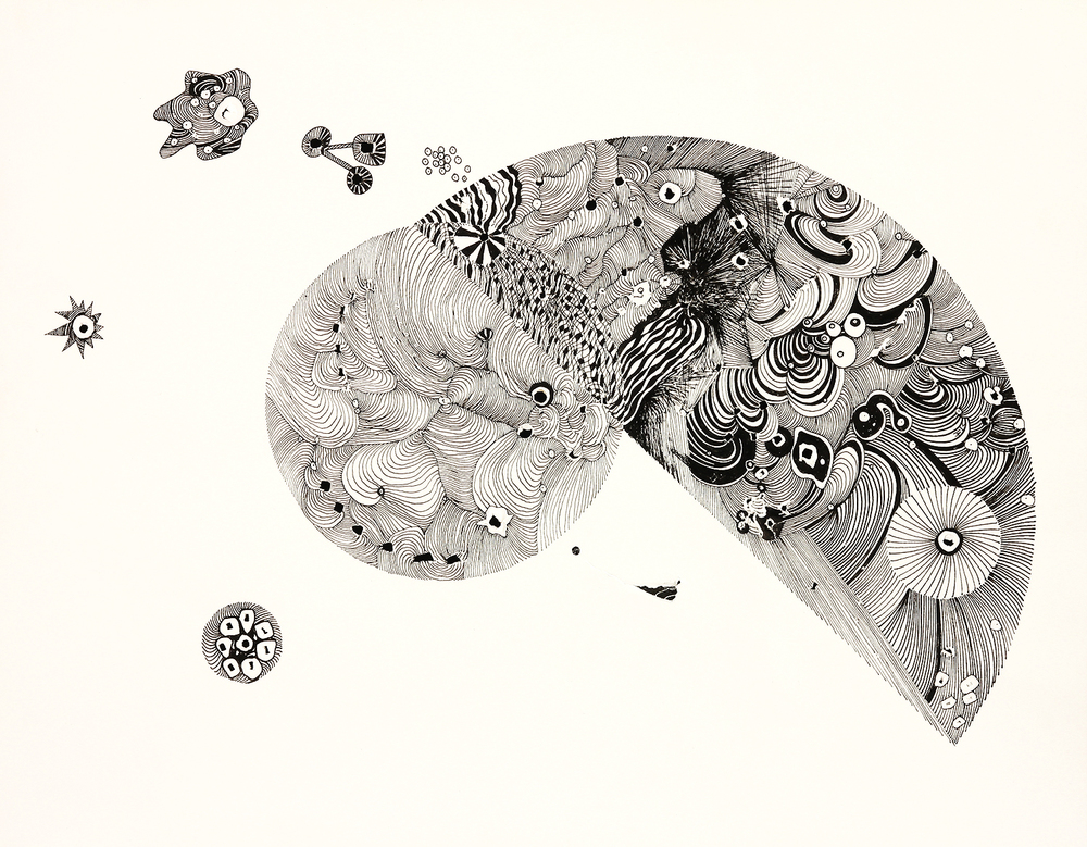 "Space with Circle and Half Overlap    ink on paper with punched holes   11"" x 14""   2014"