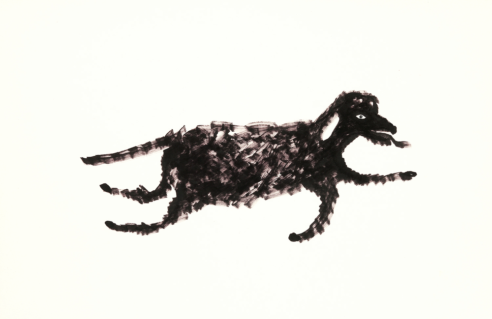 "Running Dog    marker on paper   7"" x 11""   2014"