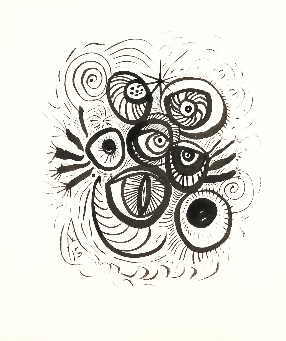"Owl Eyes    sumi ink on paper   9"" x 8""   2015"