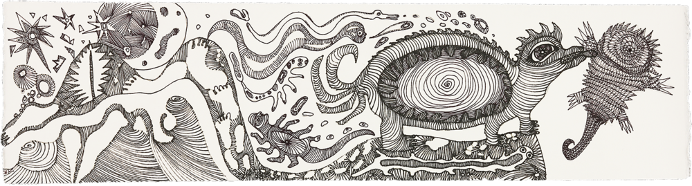 "Prehistoric Journey    ink and pencil on paper   6"" x 22""   2014"