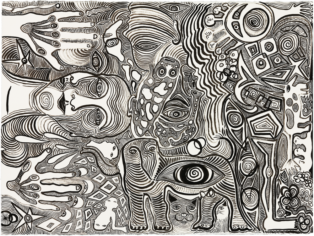 Eyes of the Beholder   sumi ink on paper  28x35in  2017