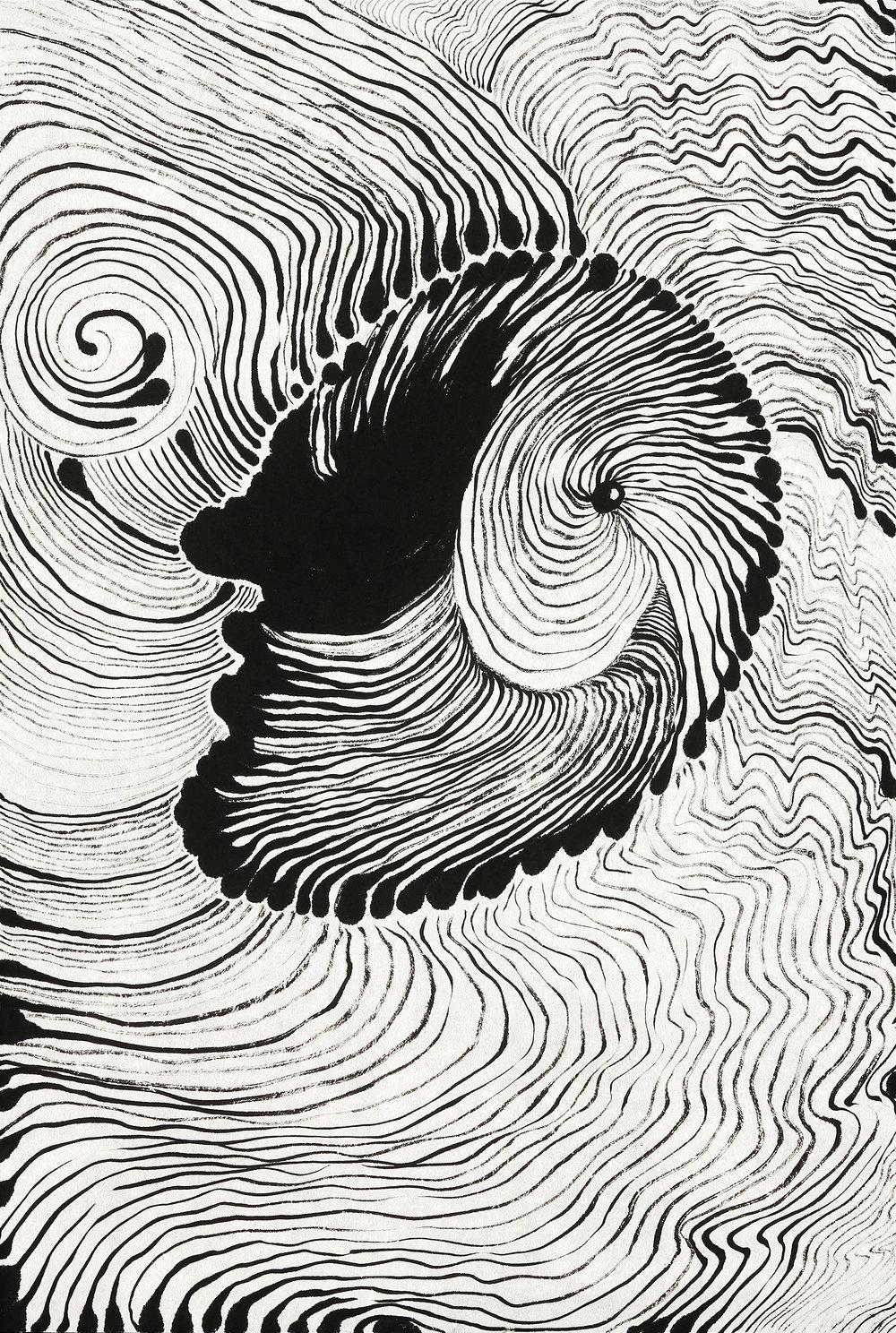 Head in Orbit   sumi ink on paper  23x17in. 2017