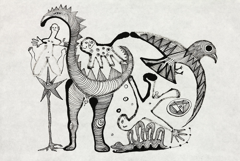 Prehistoric Family   sumi ink on paper 17x23in.  2017