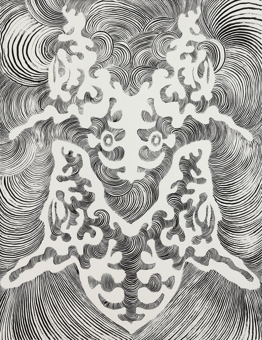 Cerebellum  sumi ink on paper 31x25in. 2016  (Brain Study Series)