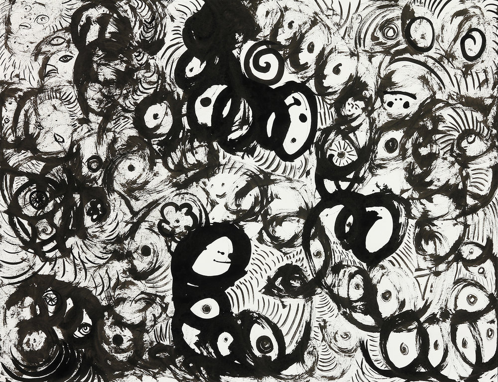 "In the Ruffle      sumi ink on paper   24"" x 29""   2016"