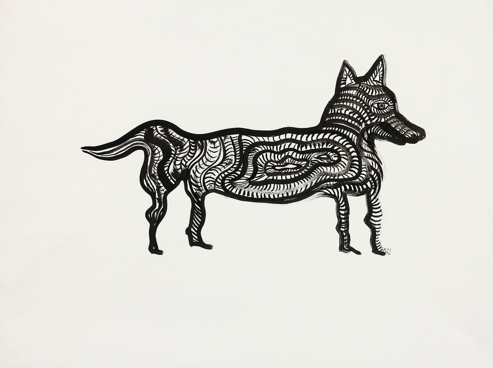 Fox  sumi ink on paper  24x29in. 2016