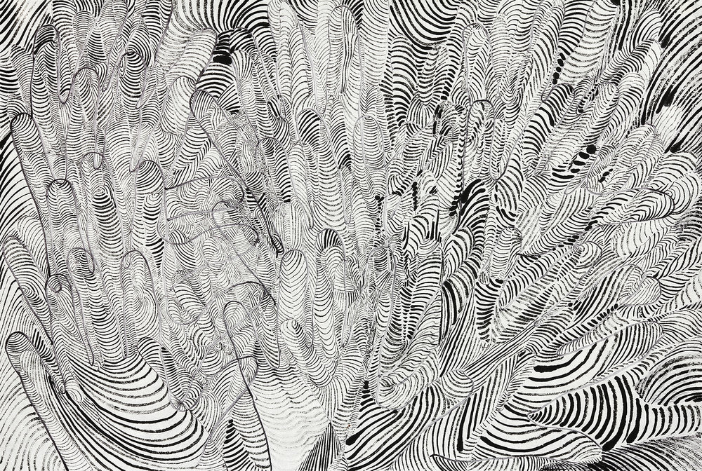 Multifaceted  sumi ink and marker on rice paper  17x23in 2016