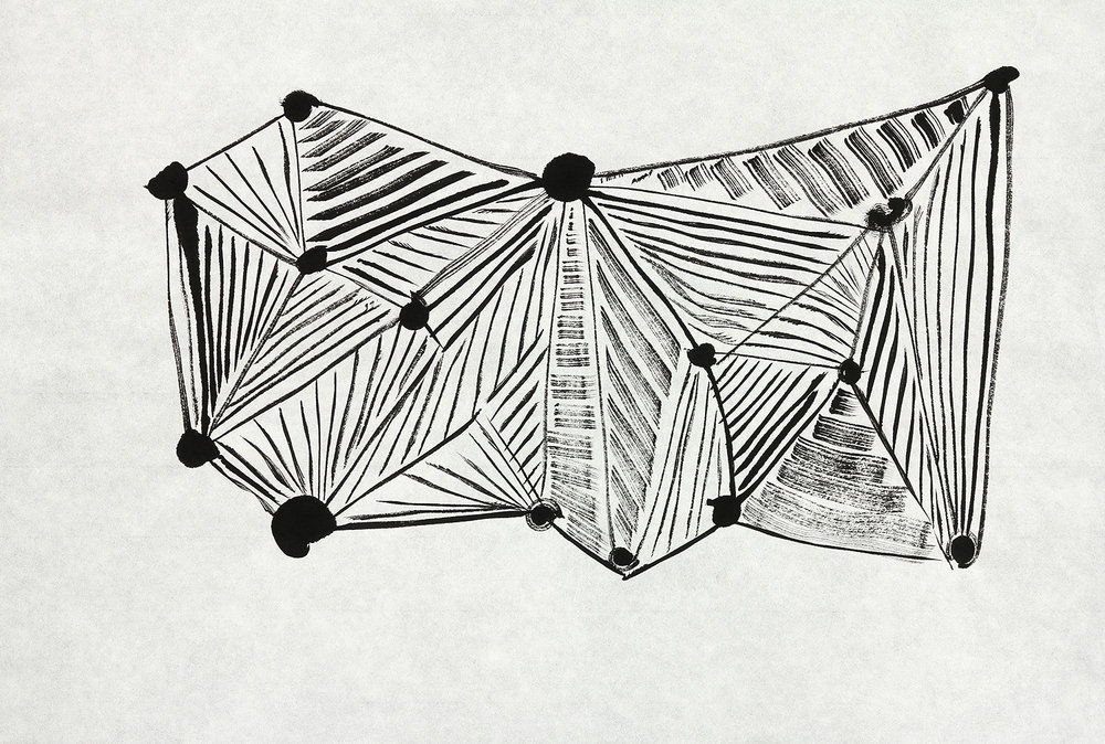 Bat  sumi ink on paper  17x23in. 2016