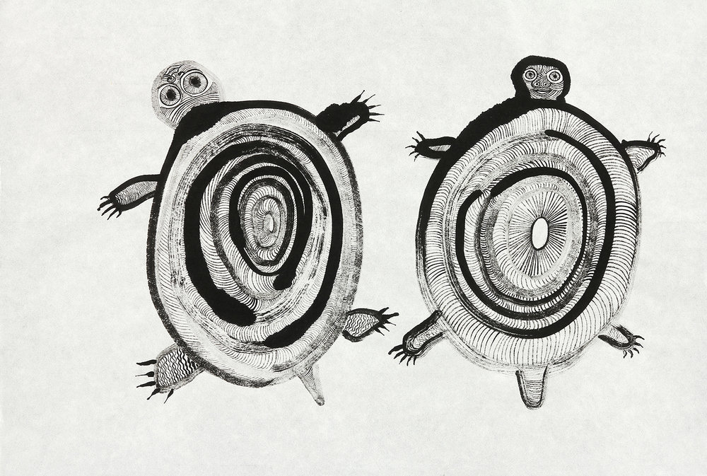 Two Turtles      sumi ink on rice paper  17x23in  2016