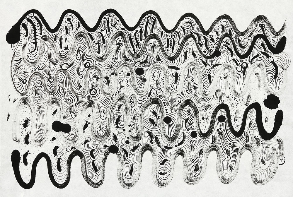 "Evolutionary Waves      sumi ink on rice paper   17"" x 23""   2016"