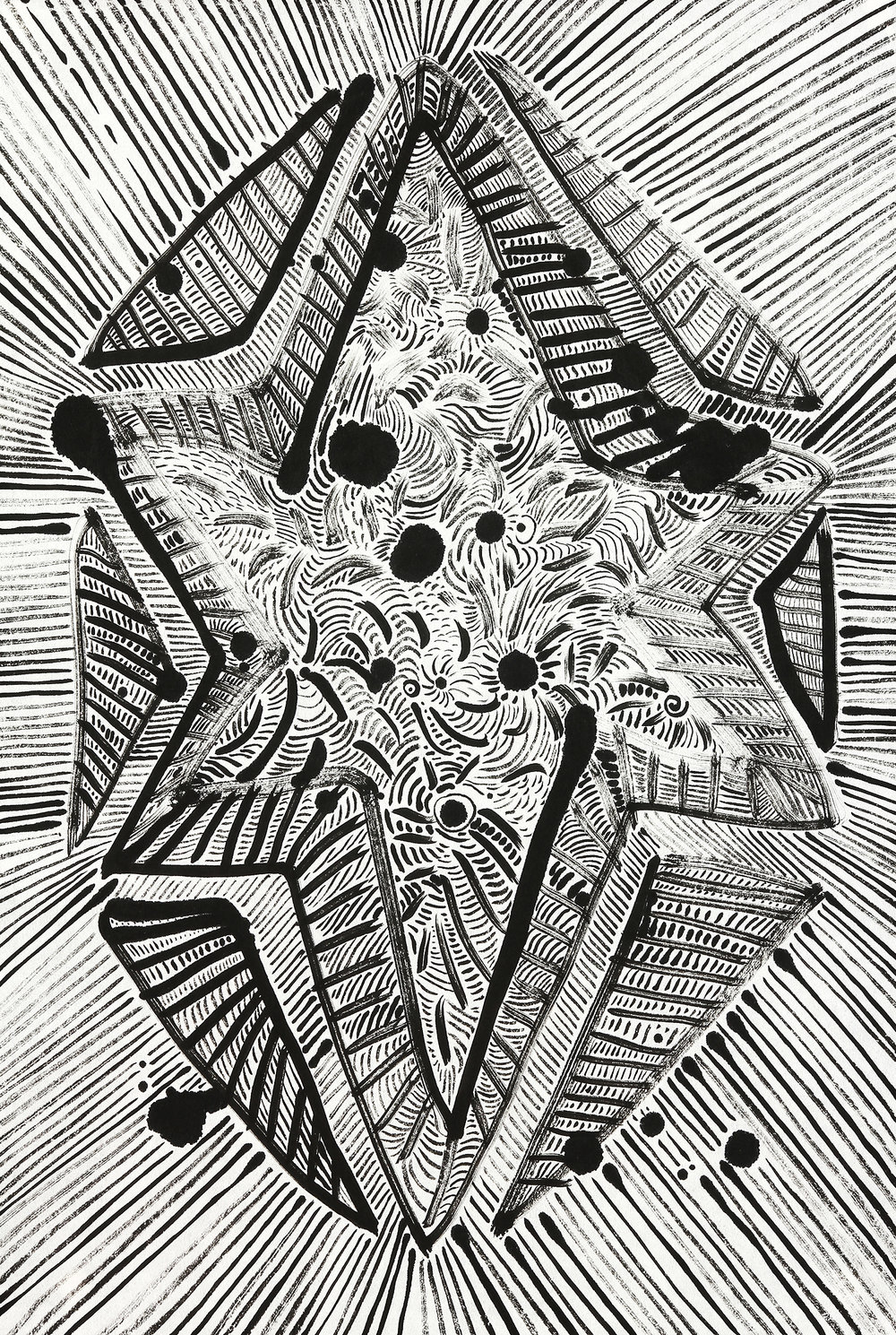 Star  sumi ink on paper  23x17in.  2016