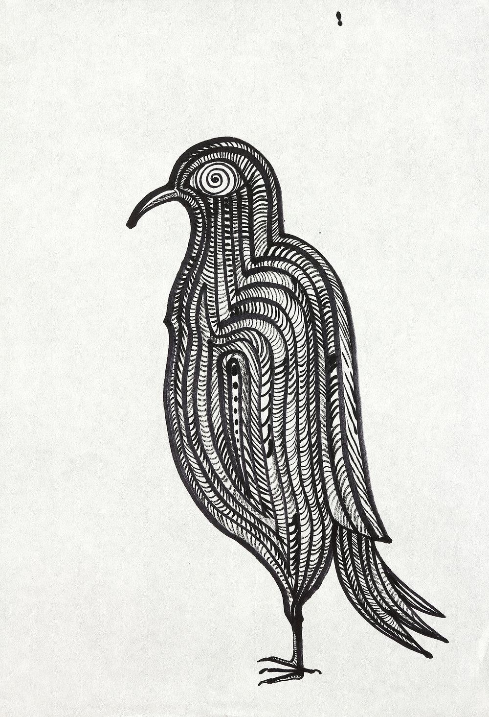 Standing Bird  sumi ink on paper  23x17in. 2016