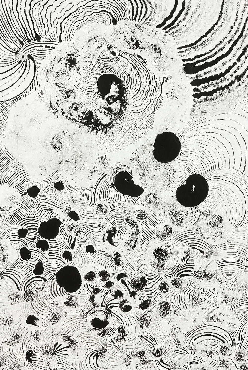 "Cosmic Flow    sumi ink on paper   23"" x 17""   2016"