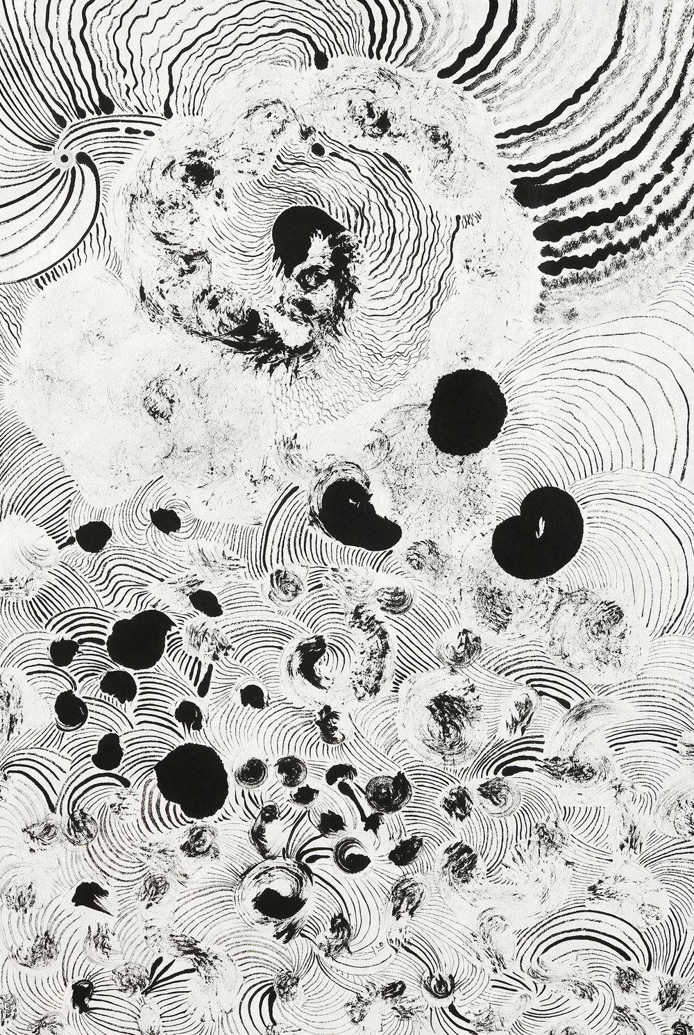 Cosmic Flow  sumi ink on paper  23x17in. 2016