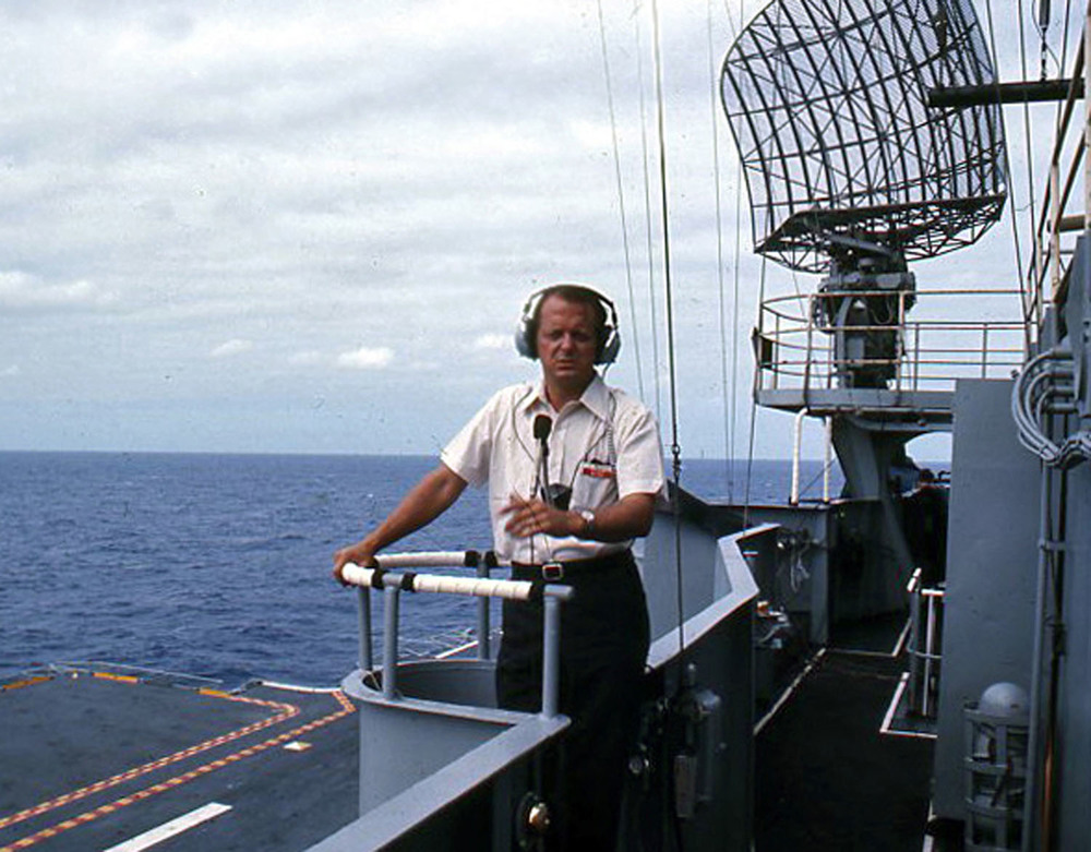 Don Blair during his live worldwide radio broadcast of the Apollo 11 splashdown and recovery event