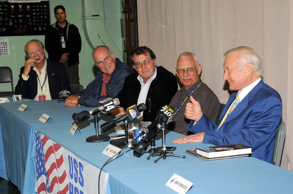 Apollo 11 astronaut Buzz Aldrin and other invited guests meet the press at Splashdown 2009 press conference | Photo by Susan Wood — More photos
