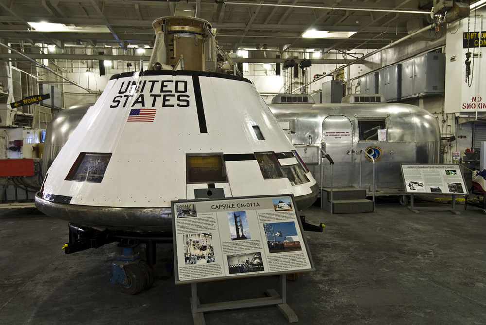 A flown Apollo command module and Mobile Quarantine Facility (MQF) are major artifacts in the USS Hornet Museum's Apollo exhibit — the aircraft carrier USS Hornet CVS-12 is the largest artifact | Photo by Bill Myers