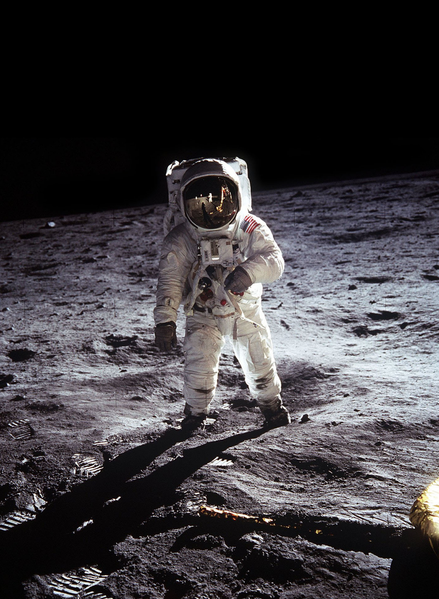Apollo 11 astronaut Buzz Aldrin walking on the moon's surface | NASA
