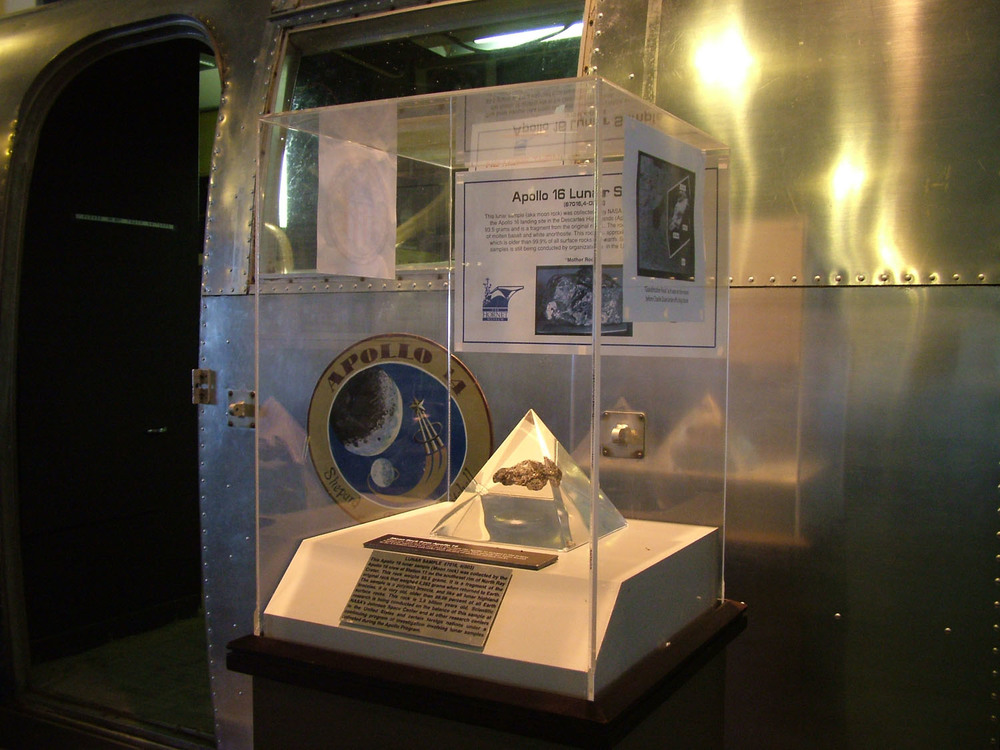 A moon rock display next to the Museum's MQF | Photo by C.J. Lee