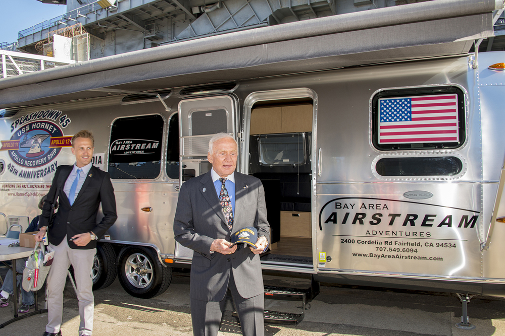 Buzz Aldrin checked out a modern Airstream trailer with his representative Rob Varnas