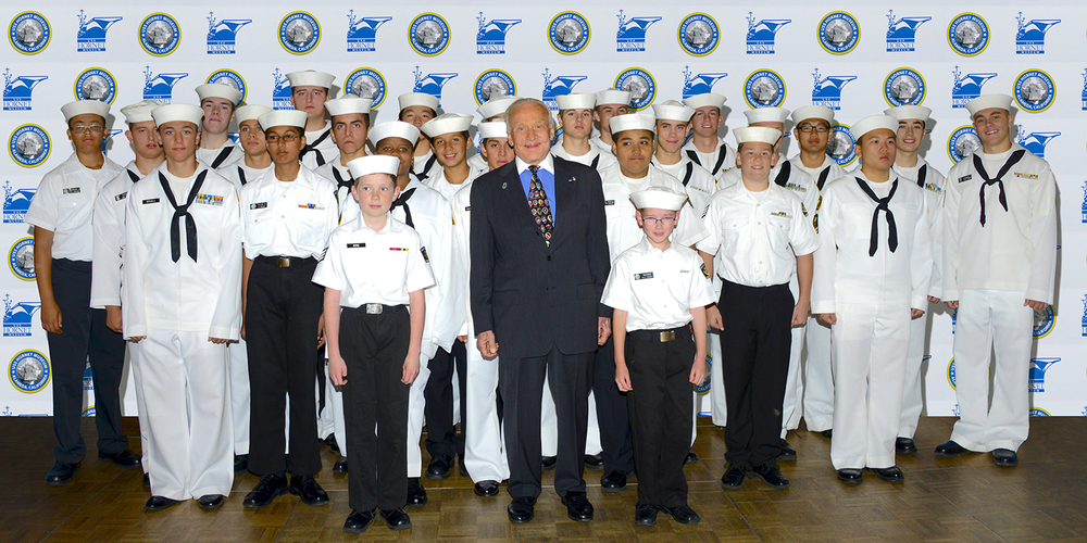 Buzz Aldrin with Sea Cadets from various units, including the host Grey Ghost Division